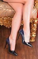 Туфли лодочки Амбре синие и черный нос лаковые код  11824