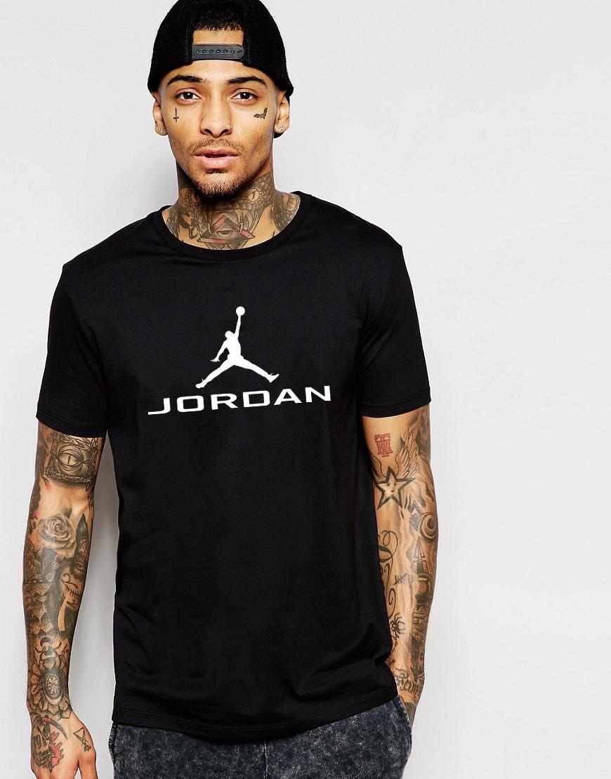 """Мужская футболка """"Jordan"""" черная с белым принтом"""