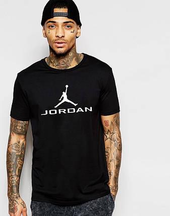 """Мужская футболка """"Jordan"""" черная с белым принтом, фото 2"""