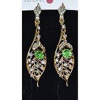 Серьги длинные,  золотистый лепесток украшен стразами и зеленым камнем 001361