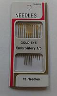Иголка для ручного шитья с золотистым ушком, набор 12 шт