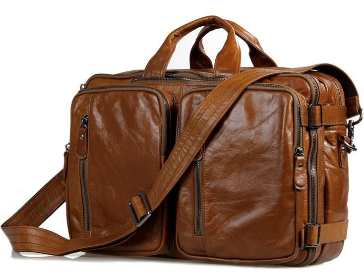 Чоловіча шкіряна сумка трансформер, рюкзак, сумка 7014B