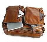 Чоловіча шкіряна сумка трансформер, рюкзак, сумка 7014B, фото 3