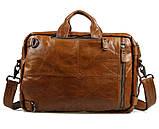 Чоловіча шкіряна сумка трансформер, рюкзак, сумка 7014B, фото 6