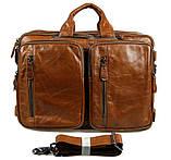 Чоловіча шкіряна сумка трансформер, рюкзак, сумка 7014B, фото 8