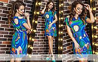 Женское короткое летнее платье с ярким принтом