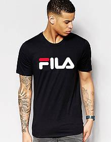 Мужская футболка FILA чёрная принт белый с красным