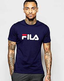 Мужская футболка FILA т. синяя белый принт с красным