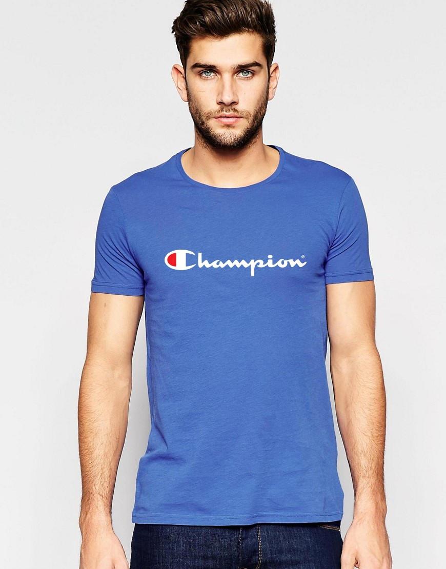 """Мужская футболка """"Champion"""" синяя"""