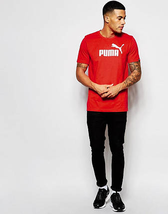 """Мужская футболка """"Puma"""" красная, фото 2"""