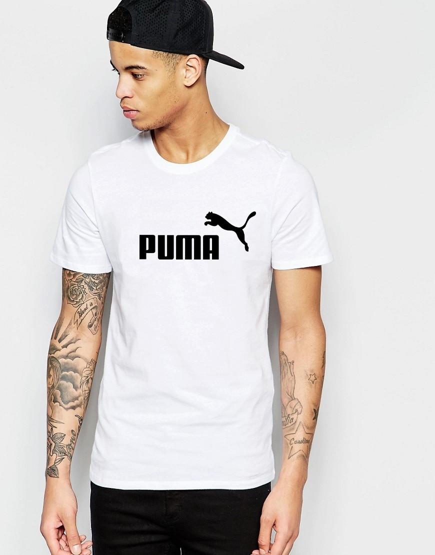 """Мужская футболка """"Puma"""" белая с принтом"""