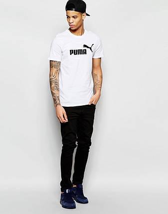 """Мужская футболка """"Puma"""" белая с принтом, фото 2"""
