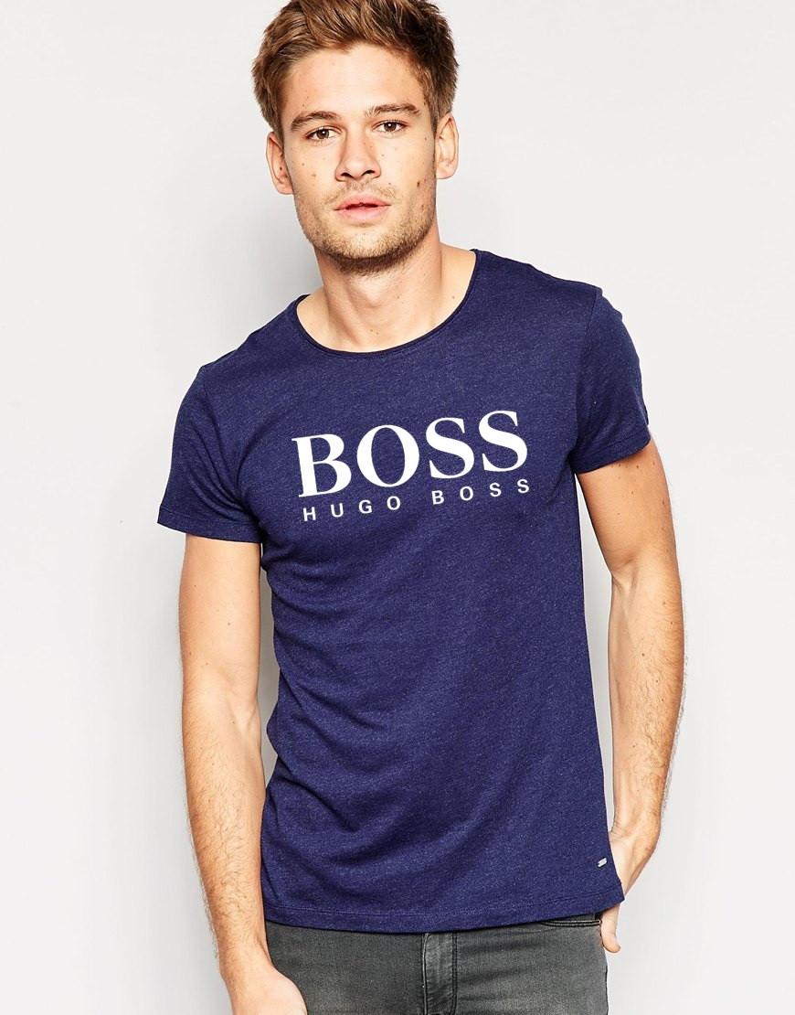 """Мужская футболка """"Hugo Boss"""" т.синяя с белым принтом"""