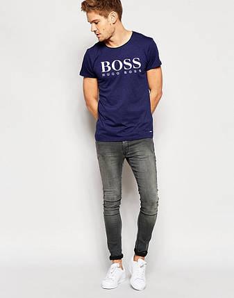 """Мужская футболка """"Hugo Boss"""" т.синяя с белым принтом, фото 2"""