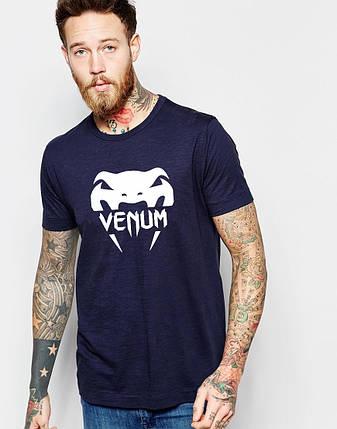 """Мужская футболка """"Venum"""" т.синяя, фото 2"""