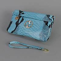 Голубой кожаный клатч женский Gucci
