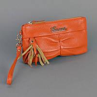 Оранжевый клатч Gucci кожаный женский