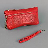 Кожаный красный клатч женский Louis Vuitton