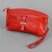 Красный женский клатч из натуральной кожи