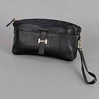 Черный кожаный клатч матовый женский оригинальный, фото 1