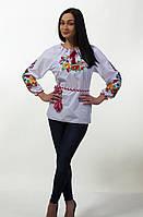 Женская вышитая блуза гладью на белом батисте, фото 1