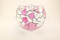 Стеклянная ваза для цветов Сакура (Шарик маленький - 9 х 12 х 8,5 см.)