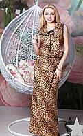 Летнее тигровое платье макси