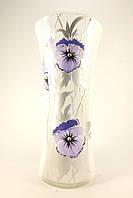 Стеклянная ваза для цветов Анютины глазки (Изогнутый цилиндр - 26 х 11,5 х 12 см.)
