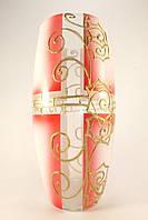 Стеклянная ваза для цветов Абстракция розовая (Выпуклый цилиндр большой - 26 х 9 х 11 см.)