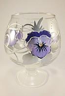 Стеклянная ваза для цветов Анютины глазки (Бокал на ножке маленький - 17 х 14 х 9,5 х 10 см.)