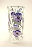 Стеклянная ваза для цветов Анютины глазки оранжевая (Квадрат - 25 х 10 х 10 см.)