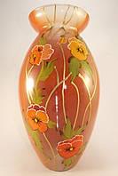 Стеклянная ваза для цветов Анютины глазки оранжевая (Фигурная 2 - 35 х 16 х 14 см.)