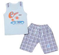 Детский легкий костюм двойка (майка и бриджи) для мальчика (с машинкой) голубой (поплин) Габби