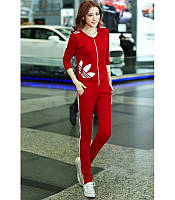 Женский  спортивный  костюм Адидас красный и малиновый
