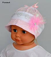 Панамка Даринка. Для девочек (ОГ 44-46см) Розовый, т.розовый, белый