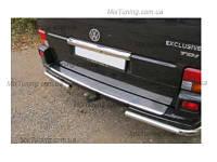 Накладка на задний бампер Volkswagen T5/ T6 (фольксваген т5 2010+) с загибом и логотипом, нерж.