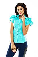 Рубашка Женская по фигуре Короткий Пышный Рукав Блузка Коттоновая