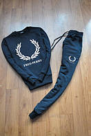 """Спортивный костюм """"Fred Perry"""" мужской черный на резинках"""