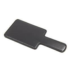 Паддл- шлепалка черного цвета из искусственной кожи прямоугольной формы малый размер.