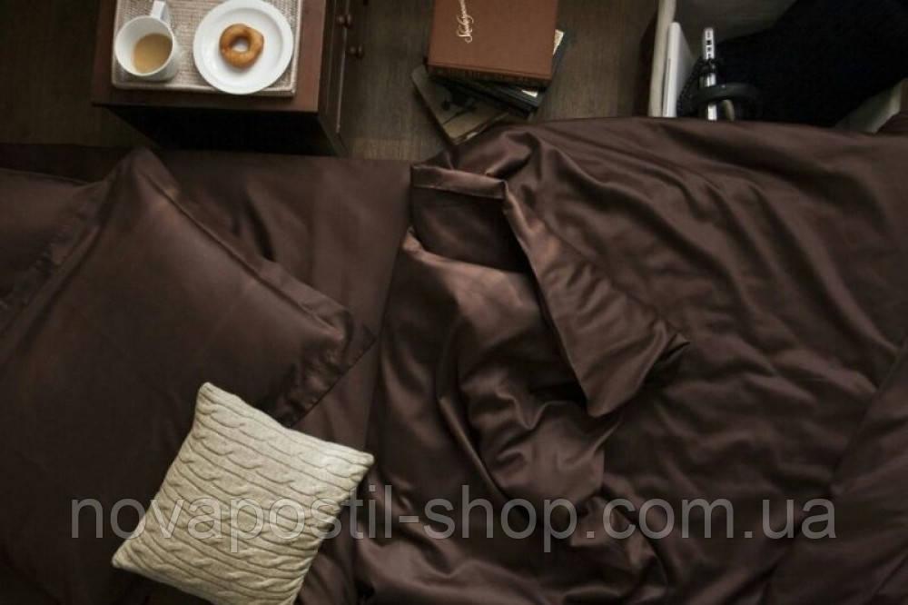 Комплект евро постельного белья сатин однотонный Dark Chocolate