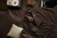 Комплект евро постельного белья сатин однотонный Dark Chocolate, фото 1