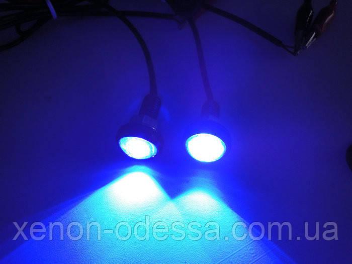"""Яркие DRL линзы """"Орлиный Глаз"""" COB LED EAGLE EYE 23мм 3W (Синий)"""