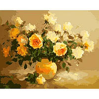 """Картина-раскраска по номерам """"Нежно-желтые розы"""" 40х50 см ТМ Идейка"""