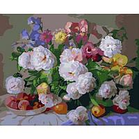 """Картина-раскраска по номерам """"Цветы и персики"""" 40х50 см ТМ Идейка"""