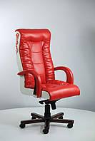 Кресло Кинг Люкс MB вишня Мадрас перламутр красный,Лаки белый,вышивка Elit