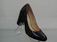 Туфли женские лаковые натуральные на каблуке черные, фото 1