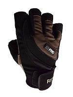Перчатки для фитнеса Power System FP-03 S1 PRO черные, черно-коричневые