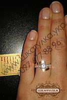 Серебряное кольцо с золотом и фианитом №69о
