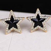 Серьги Звезды со стразами