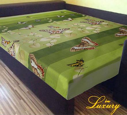 """Простынь на резинке 180х200 см """"Бабочки на зеленом фоне"""" in Luxury™ 32005"""